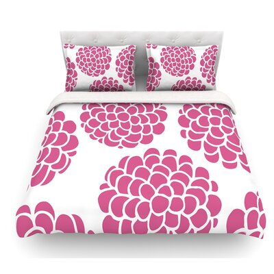 Blossoms by Pom Graphic Design Circles Featherweight Duvet Cover Size: Queen, Color: Raspberry/Pink