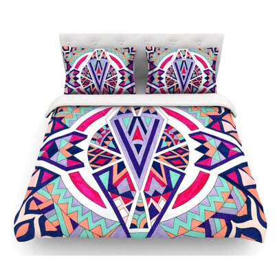 Abstract Journey by Pom Graphic Design Circular Tribal Featherweight Duvet Cover Size: King