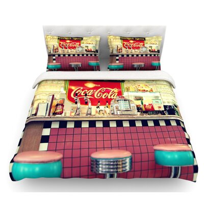 Retro Diner by Sylvia Cook Coca Cola Featherweight Duvet Cover Size: Twin