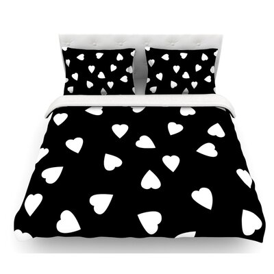Hearts by Suzanne Carter Featherweight Duvet Cover Color: Black/White, Size: Queen