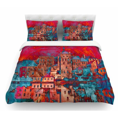 Marbled Skyline by Suzanne Carter Featherweight Duvet Cover Size: King
