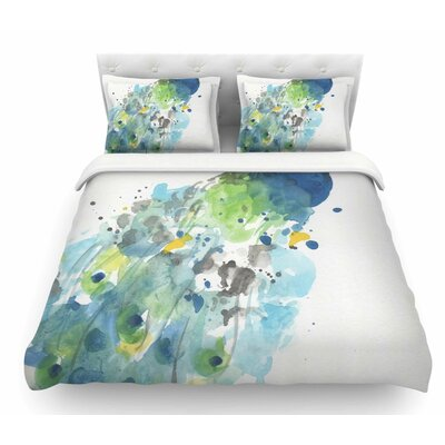Abstract Watercolor Peacock by Rebecca Bender Featherweight Duvet Cover Size: Queen