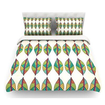 Tribal Leaves by Pom Graphic Design Featherweight Duvet Cover Size: Queen