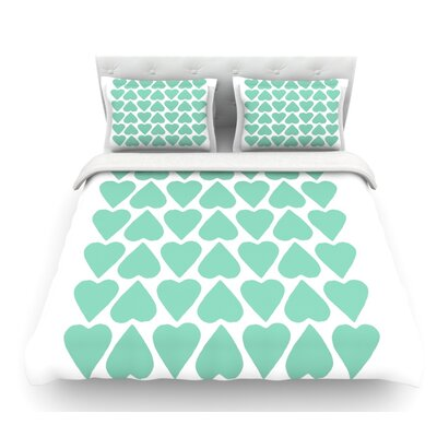 Up and Down Hearts by Project M Featherweight Duvet Cover Size: King, Color: Mint/White