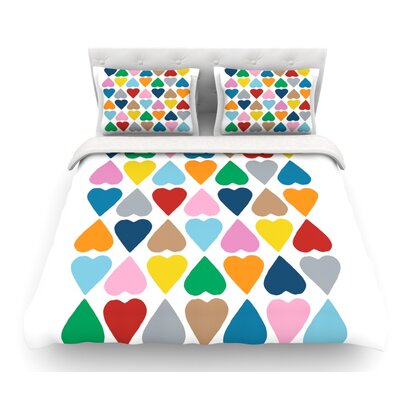 Diamond Hearts by Project M Featherweight Duvet Cover Size: King