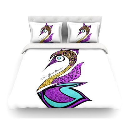 Dreams Swan by Pom Graphic Design Featherweight Duvet Cover Size: Twin