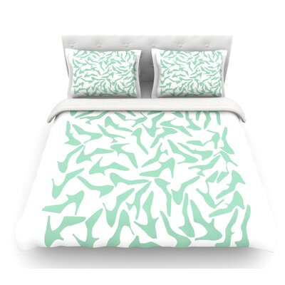 Shoe by Project M Featherweight Duvet Cover Size: King, Color: White/Mint