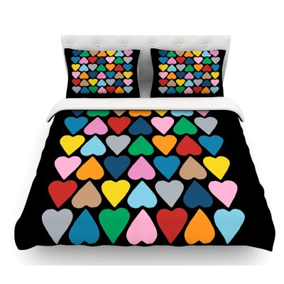 Up and Down Hearts by Project M Featherweight Duvet Cover Color: Multi/Black, Size: King
