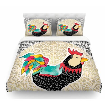 Cuckaroo Rooster by Pom Graphic Design Featherweight Duvet Cover Size: Queen