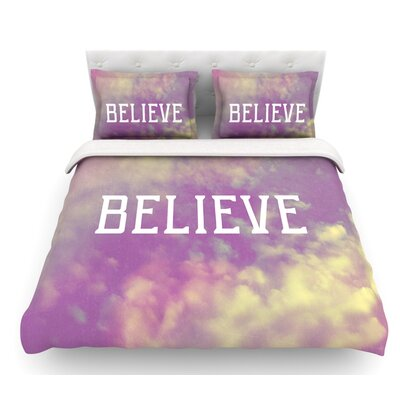 Believe by Rachel Burbee Clouds Featherweight Duvet Cover Size: Queen