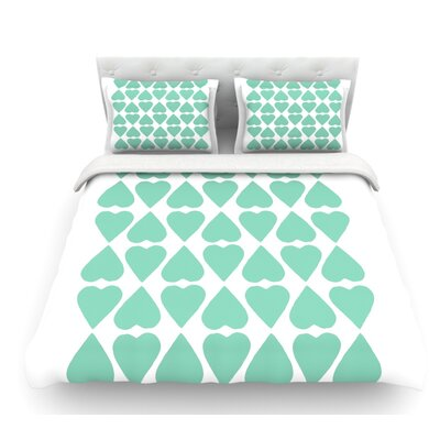 Mint Diamond Hearts by Project M Featherweight Duvet Cover Size: King