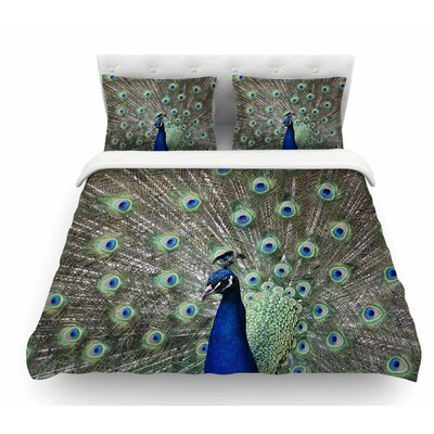 Peacock of Stunning Feathers by Qing Ji Featherweight Duvet Cover Size: King