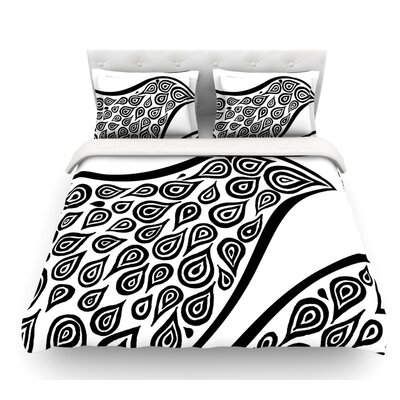 Bird in Disguise White by Pom Graphic Design Featherweight Duvet Cover Size: Queen