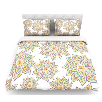 Floral Dance by Pom Graphic Design Featherweight Duvet Cover Size: Queen, Color: White/Yellow/Purple