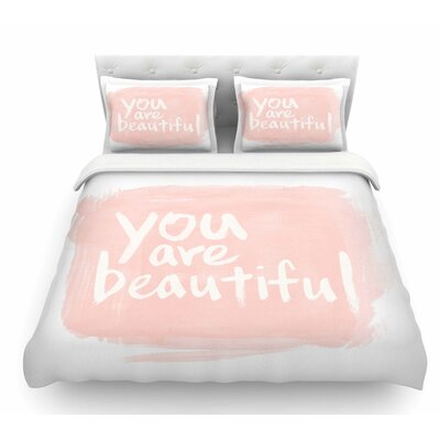 Brush Lettering Beautiful by Qing Ji Featherweight Duvet Cover Size: Queen