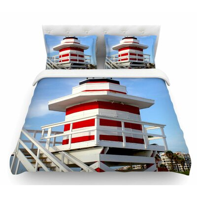 Lighthouse Lifeguard Stand by Philip Brown Featherweight Duvet Cover Size: Queen