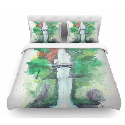 Multnomah Falls Watercolor by Rebecca Bender Featherweight Duvet Cover Size: Twin