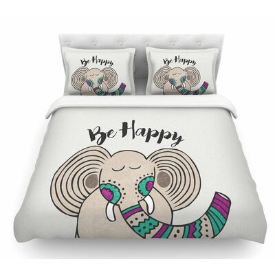 Be Happy by Pom Graphic Design Featherweight Duvet Cover Size: Queen