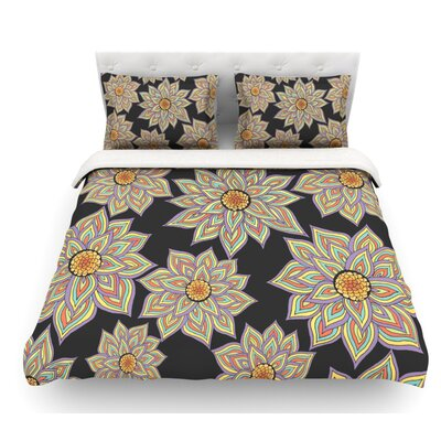 Floral Dance by Pom Graphic Design Featherweight Duvet Cover Size: Twin, Color: Black/Purple/Yellow