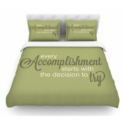 Accomplishment Green by NL Designs Olive Featherweight Duvet Cover Size: Queen