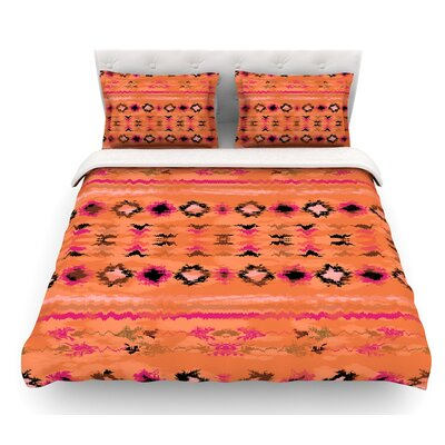 Navano by Nina May Tribal Featherweight Duvet Cover Color: Orange, Size: King