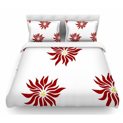 White Pointsettias by NL Designs Flower Featherweight Duvet Cover Size: King