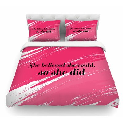 She Did by NL Designs Illustration Featherweight Duvet Cover Size: Queen