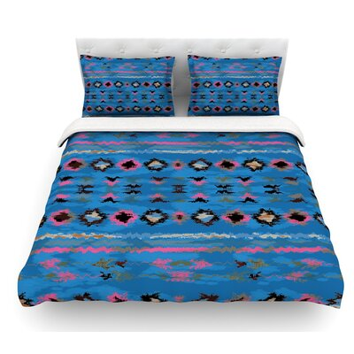 Navano by Nina May Tribal Featherweight Duvet Cover Size: King, Color: Blue