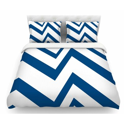 Zigzag by NL Designs Featherweight Duvet Cover Color: Navy Blue/White, Size: King