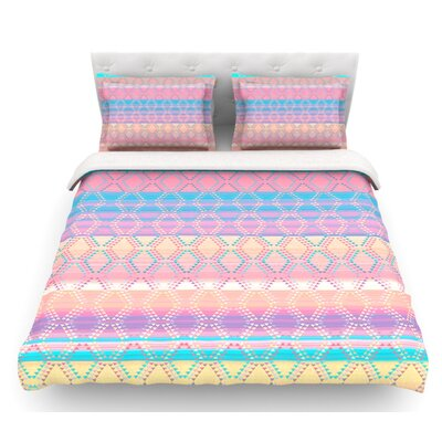 Denin Diamond by Nina May Featherweight Duvet Cover Color: Pink/Blue/Yellow, Size: Queen