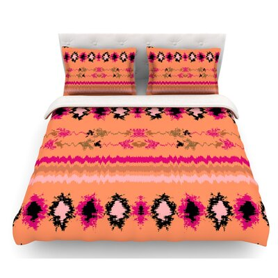 Peachy Nava by Nina May Tribal Featherweight Duvet Cover Size: Twin, Color: Orange