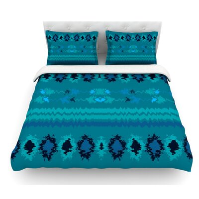 Peachy Nava by Nina May Tribal Featherweight Duvet Cover Color: Teal/Turquoise, Size: Queen