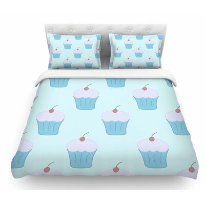 Cupcakes by NL Designs Pastel Food Featherweight Duvet Cover Size: King