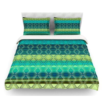 Denin Diamond by Nina May Featherweight Duvet Cover Size: Twin, Color: Turquoise/Green