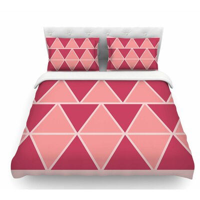 Sandstone Triangles by NL Designs Geometric Featherweight Duvet Cover Color: Pink/Coral/Peach, Size: King