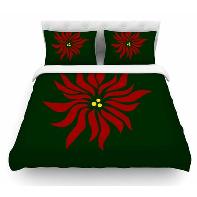 Pointsettia by NL Designs Floral Featherweight Duvet Cover Size: Queen