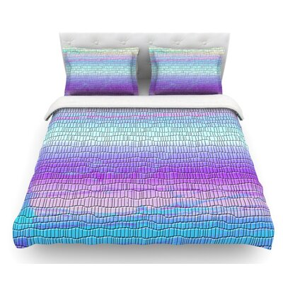 Drip Dye Strid by Nina May Abstract Pastel Featherweight Duvet Cover Size: Queen, Color: Blue/Pink