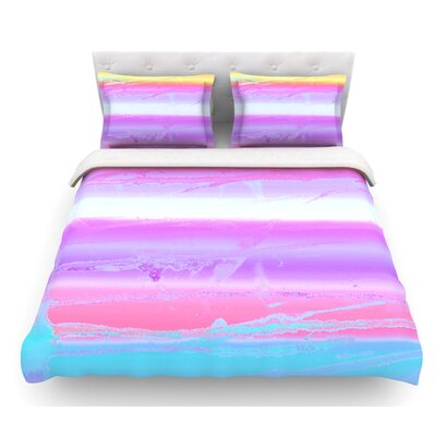 Drip Dye by Nina May Pastel Featherweight Duvet Cover Size: Twin, Color: Purple/Orange