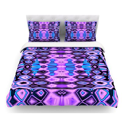 Deztecca by Nina May Featherweight Duvet Cover Color: Purple/Blue, Size: Queen