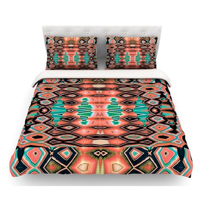Deztecca by Nina May Featherweight Duvet Cover Size: Twin, Color: Orange/Teal