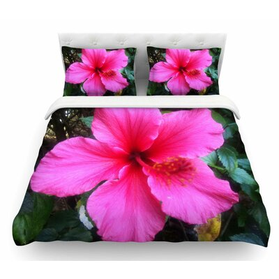 Tropical Hibiscus by NL Designs Floral Featherweight Duvet Cover Size: Queen