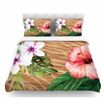 Vintage Tropical Jungle by NL Designs Floral Featherweight Duvet Cover Size: Queen