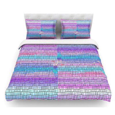 Drip Dye Strid by Nina May Abstract Pastel Featherweight Duvet Cover Color: Purple/Blue/Pink, Size: Queen