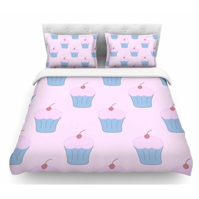 Cupcakes by NL Designs Blush Featherweight Duvet Cover Size: Queen