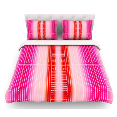 Deco City by Nina May Featherweight Duvet Cover Color: Pink/Red/White, Size: King