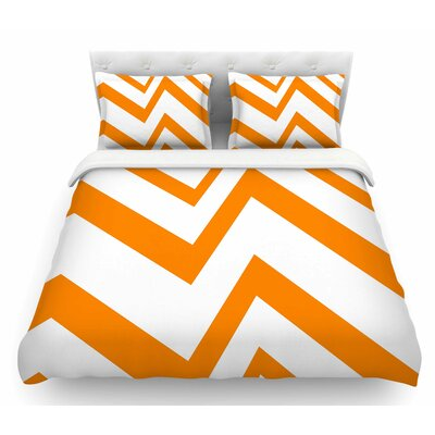Zigzag by NL Designs Featherweight Duvet Cover Size: King, Color: White/Orange