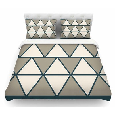 Sandstone Triangles by NL Designs Geometric Featherweight Duvet Cover Size: Twin, Color: Beige