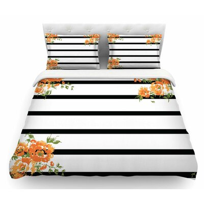 Orange Floral Stripes by NL Designs Floral Featherweight Duvet Cover Size: King