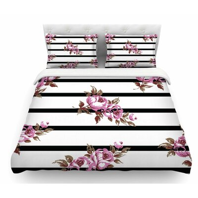 Floral Stripes by NL Designs Featherweight Duvet Cover Size: Queen