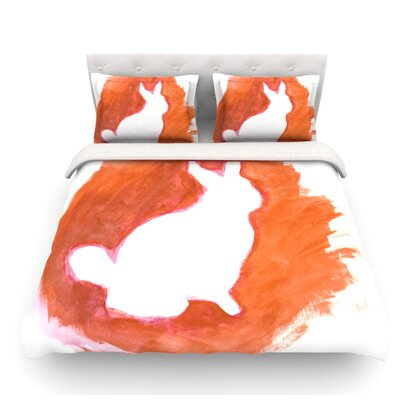 Moon Bunny by Theresa Giolzetti Featherweight Duvet Cover Size: Twin, Color: Orange